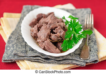 Pork Braised in Red Wine, copy space for your text