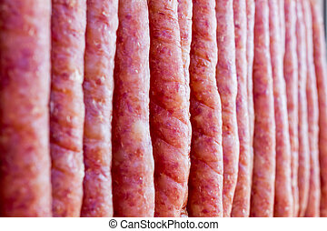 pork chinese sausage stacked in the chinese market