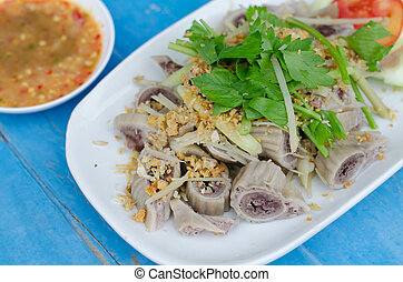 pork chitterlings boil with spicy sauce - pork chitterlings...