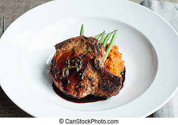 Pork Chop - Beautifully roasted pork chop with green beans...
