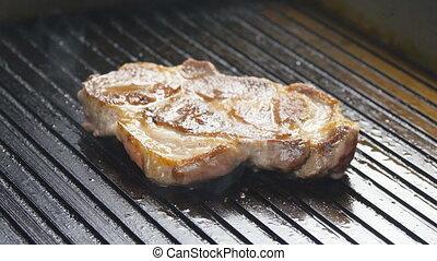Pork chop grilled and fragrant smoke - Pork chop grilled...