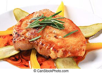 Pork chop in spicy glaze - Pan-roasted pork chop in spicy ...