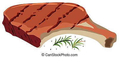 Pork chop on white background illustration