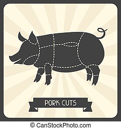 Pork cuts. Butchers cheme cutting meat illustration