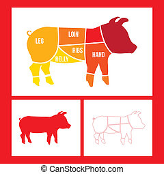 pork cuts over red background. vector illustration