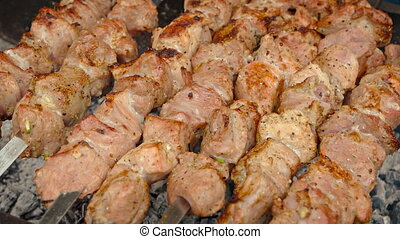 Pork Kebabs Barbecuing over Coals. 1080p FullHD video - Long...