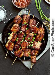 Pork kebabs, bbq meat, top view