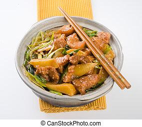 pork., kinesisk cuisine, asien, mad