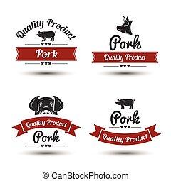 premium pork labels, badges and design elements, vector illustration