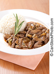 Pork liver with rosemary and rice