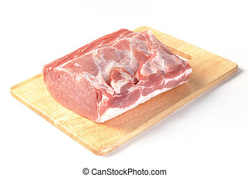 Fresh pork loin isolated on a white background.