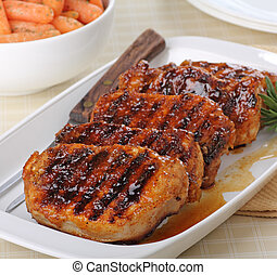Pork Loin - Grilled pork loins on a serving platter