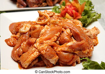 Pork marinated spices - Raw meat (pork) marinated with onion...