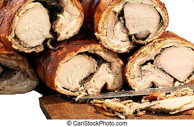 pork meat called PORCHETTA in Italian for saleon white backgroun