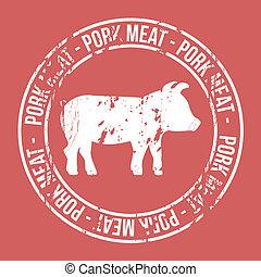 pork meat label over red background. vector illustration