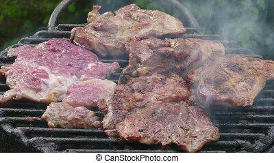 Pork meat grilling zoom in video