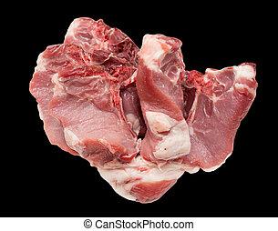 pork meat on a black background