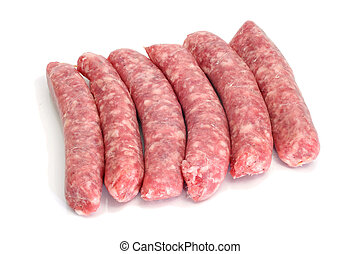 pork meat sausages - a pile of pork meat sausages isolated...