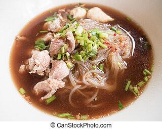Boat Noodle - pork noodle with soup Thai style. Thai people...