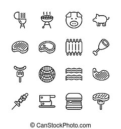 Pork related icon set. Vector illustration