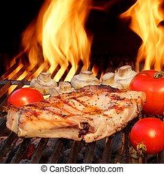 Pork Rib Steaks, Tomato And Mushrooms On Hot BBQ Grill -...
