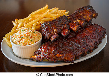 Pork ribs back meal - Pork ribs back with french fries and...