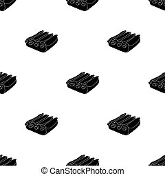 Pork ribs icon in black style isolated on white background....