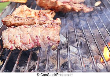 pork ribs on barbecue grill