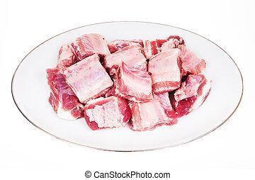 Pork ribs on white background
