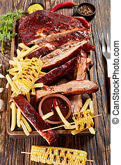 Pork ribs with french fries and sauce