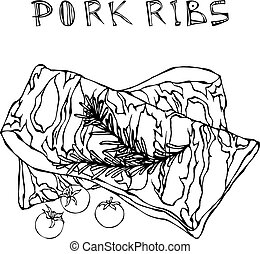 Pork Ribs with Rosemary Herb and Tomato. Meat Guide for Butcher Shop or Steak House Restaurant Menu. Hand Drawn Illustration. Doodle Style.