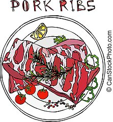Pork Ribs with Rosemary Herb, Pepper, Lemon, Bell Pepper and Tomato. On a Round Plate. Meat Guide for Butcher Shop or Steak House Restaurant Menu. Hand Drawn Illustration. Doodle Style.