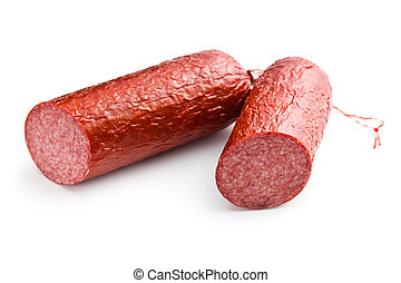 pork salami on white background
