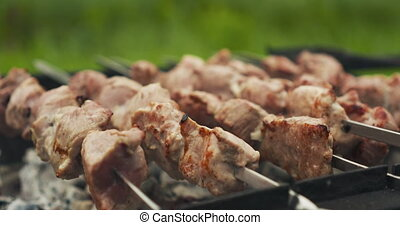 pork shashlik over coals on brazier, 4k prores footage