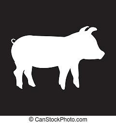 pork silhouette - silhouette pork over black background....