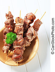 Pork skewers  - Chunks of juicy pork on wooden skewers
