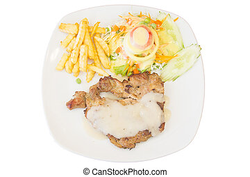 Pork steak on white background