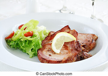 Pork steak with vegetable