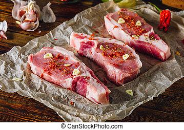 Pork Steaks Prepared for Roasting.