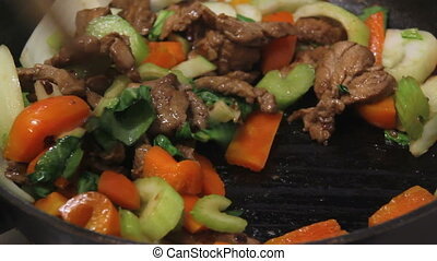 pork stir fried cooking - pork stir fry cooking on wok real...