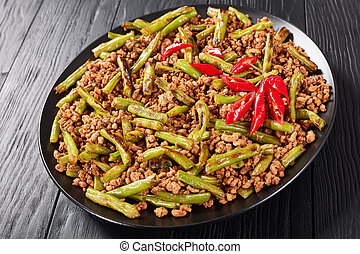 Pork Stir Fry with charred Green Beans with chili pepper...