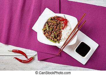 Pork Stir Fry with green bean and rice - Pork Stir Fry with...
