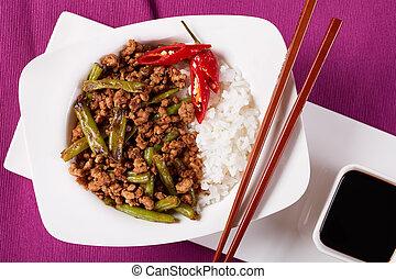 Pork Stir Fry with Green Beans and rice - Pork Stir Fry with...