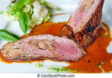 Pork Tenderloin - Detail of pork tenderloin prepared on a ...