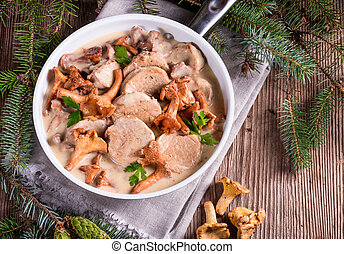 Pork tenderloin with Chanterelle sauce