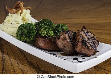 Pork Tenderloin with Mashed Potato and Brocolli - Prosciutto...