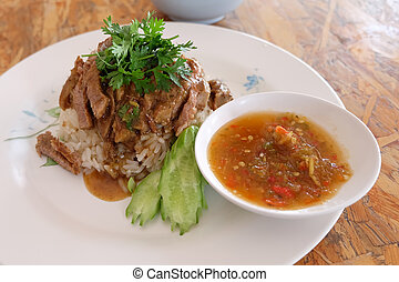pork with rice ,thai food