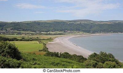 Porlock beach coast Somerset uk PAN