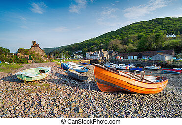 Porlock Weir on the Exmoor Coast - Colourful fishing boats ...