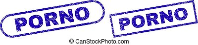 PORNO Blue Rectangle Watermark with Grunge Surface